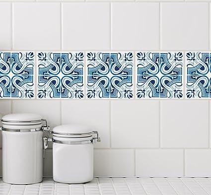 Amazon.com: Spanish Blue Ceramic Tile Decals for 4\