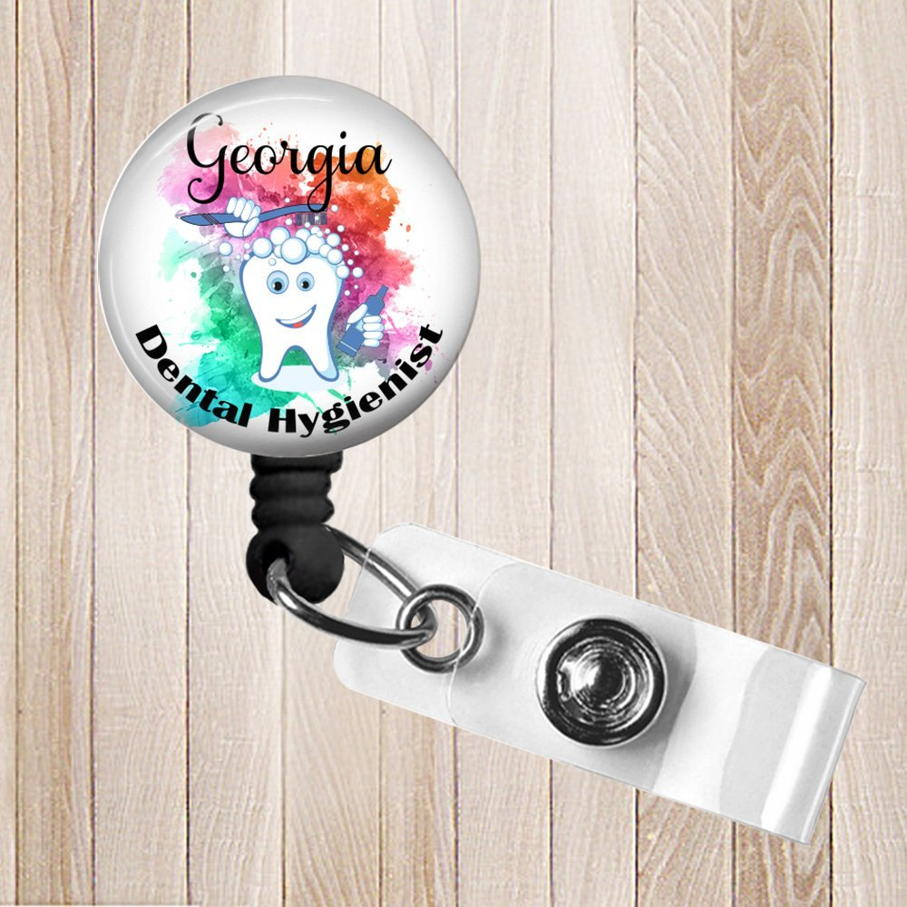 Dental Hygienist Personalized Retractable Badge Reel ID Holder