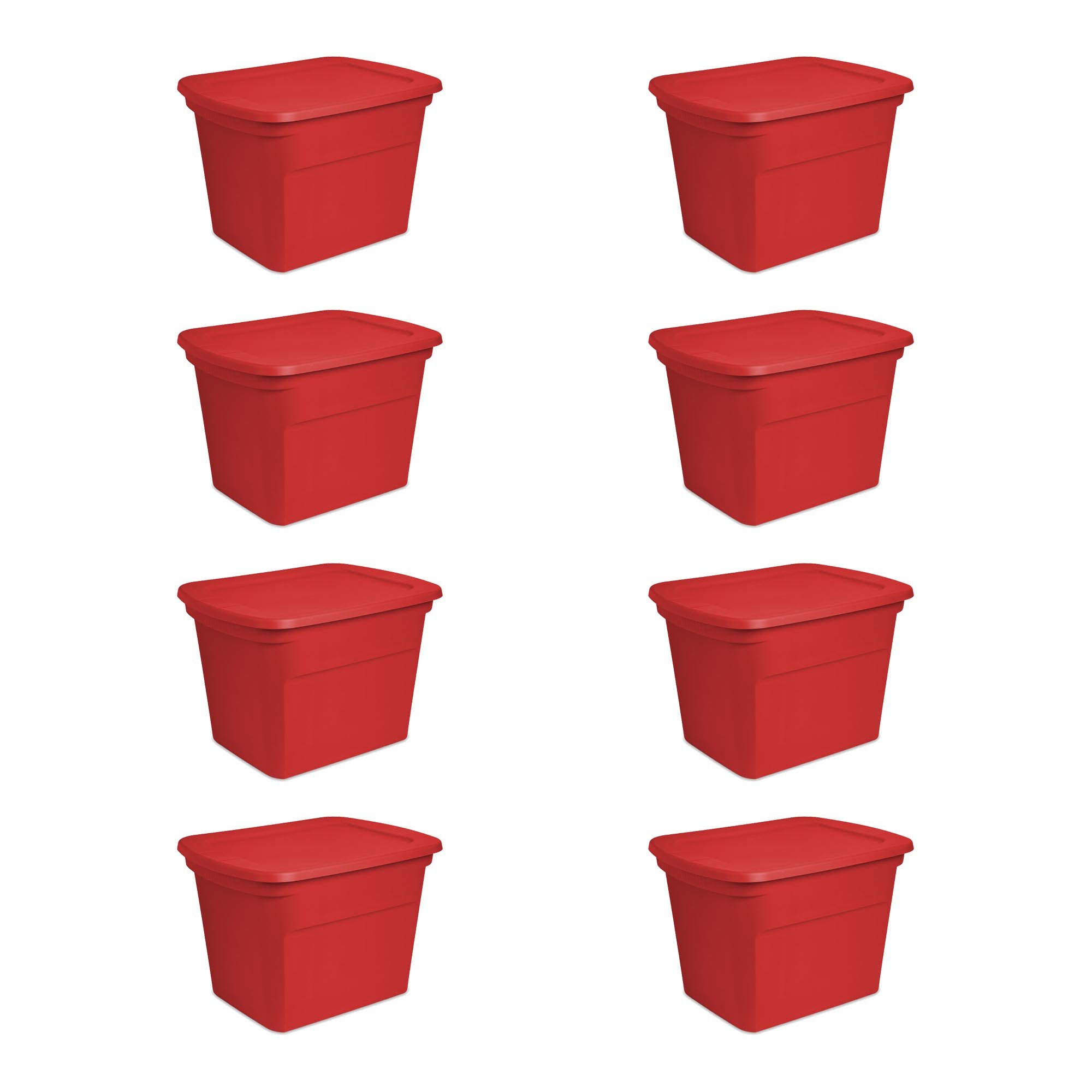 Sterilite 18 Gallon Durable Stacking Seasonal Storage Tote, Red (8 Pack)