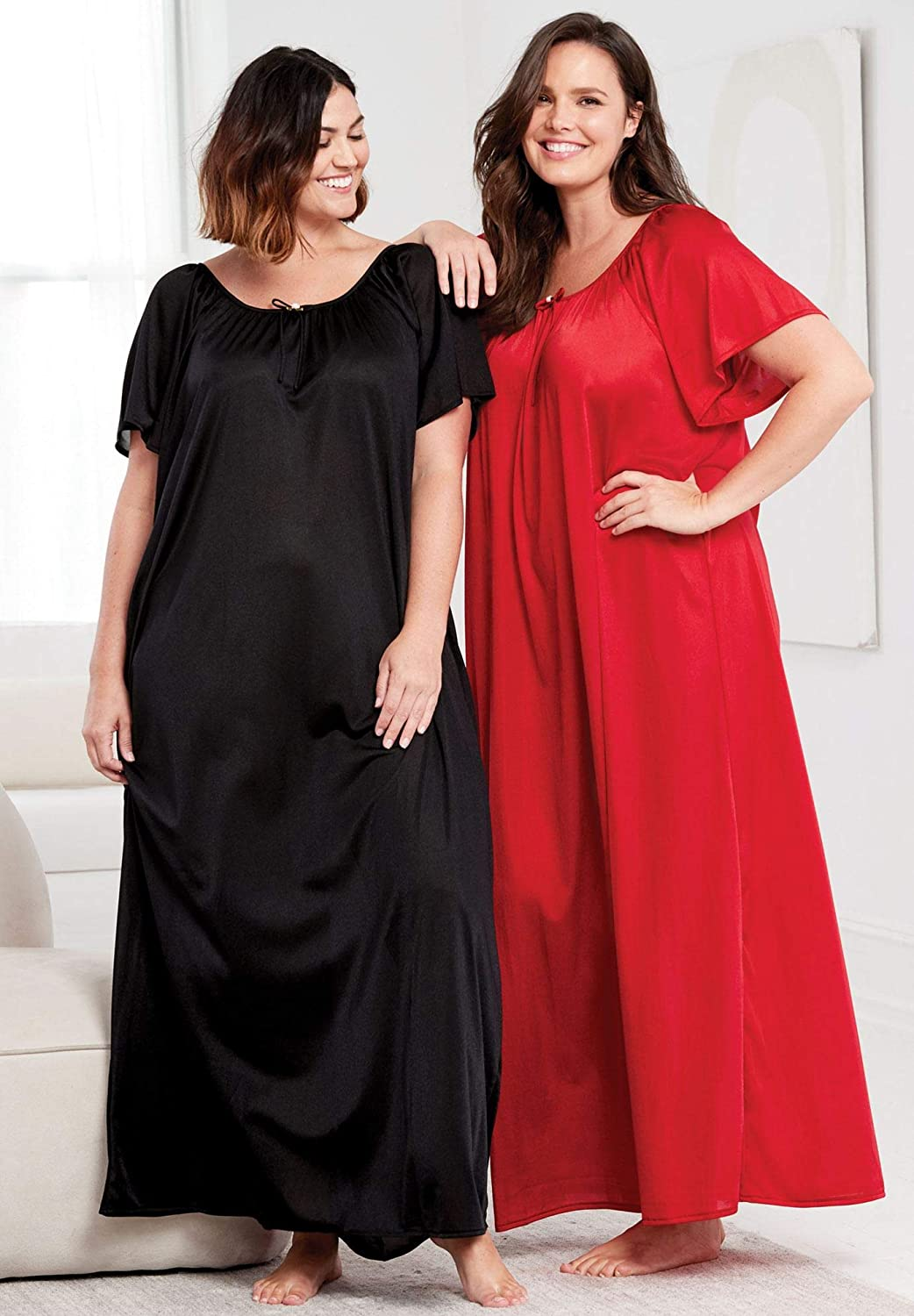 Only Necessities Womens Plus Size 2-Pack Long Nightgown Set
