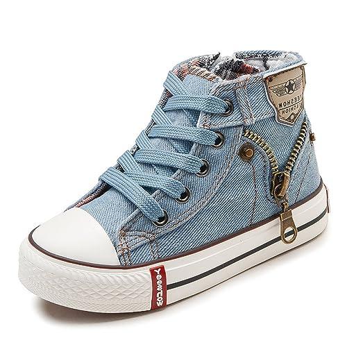 67a09bf90329a DUORO Baskets Mode Chaussures Fille Sneakers Mixte Enfant Toile Chaussures  Bébé Bottes (25 EU