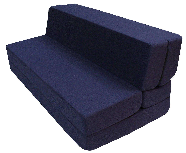 Merax Convertible 5-Folding Foam Sleeping Mattress Sofa Bed and Floor Mat, 80in x60in x5in, Navy Blue