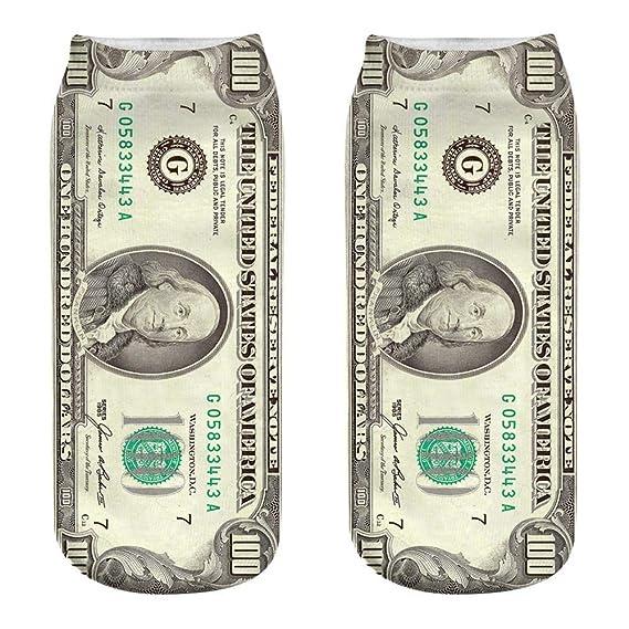 VJGOAL Unisex Moda casual Calcetines de algodón Dólar patrón de billete Impresión 3D Impresión fina Medias deportivas Calcetines(Tamaño del niño, ...