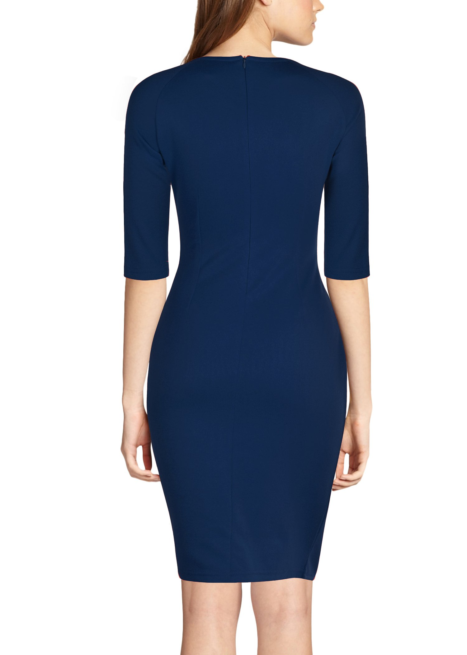 REPHYLLIS Women's Official v Neck Optical Illusion Half Sleeve Business Dress S Darkblue by REPHYLLIS (Image #2)