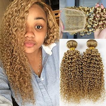 Amazon Com Blonde Curly Bundles With Closure Orange Star 100