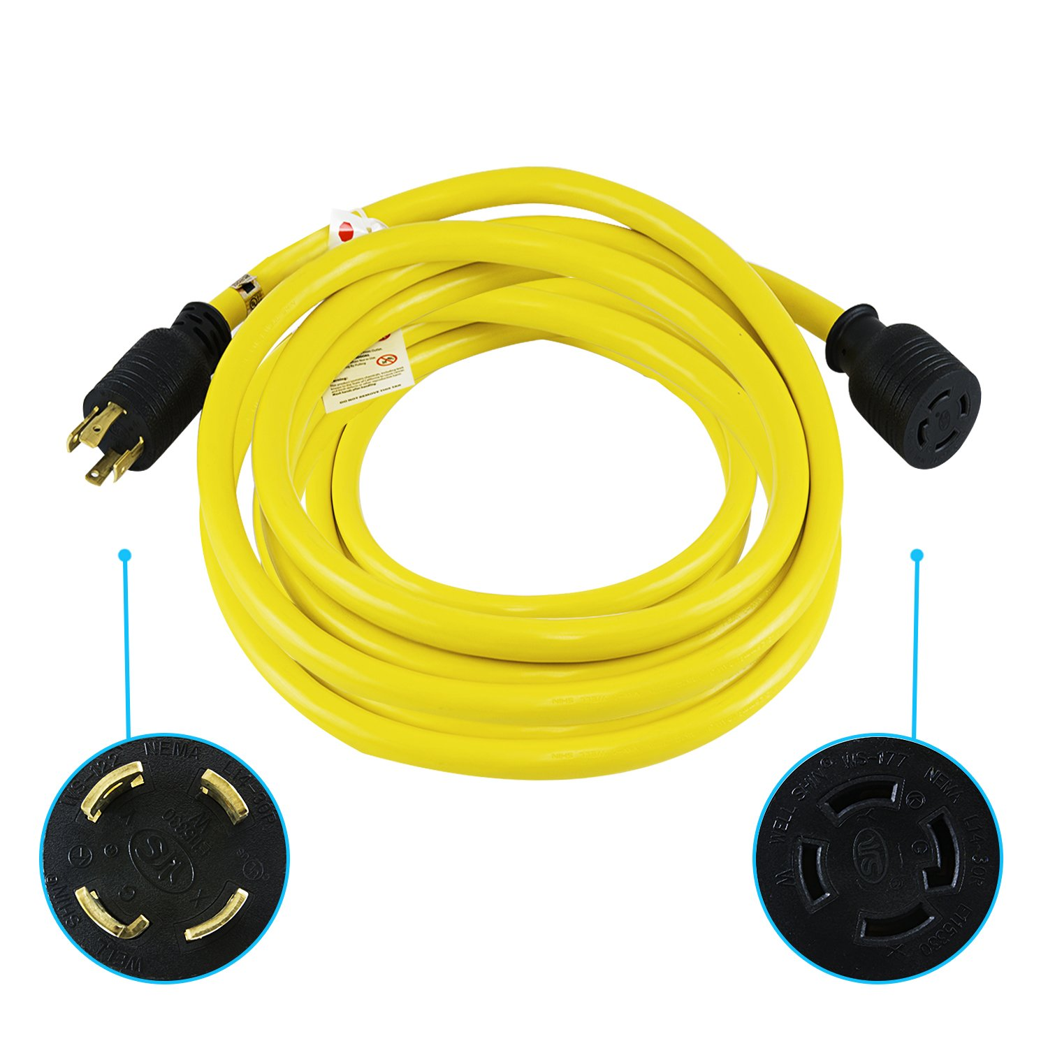 Houseables Generator Cord, Electric Extension Wire, 4 Prong, 30 Amp, 125-250v, Single, Yellow, 50 Ft, All Rubber, 10 Gauge, Heavy Duty, L14-30, Transfer, Electrical Power Cable, With Locking Switch