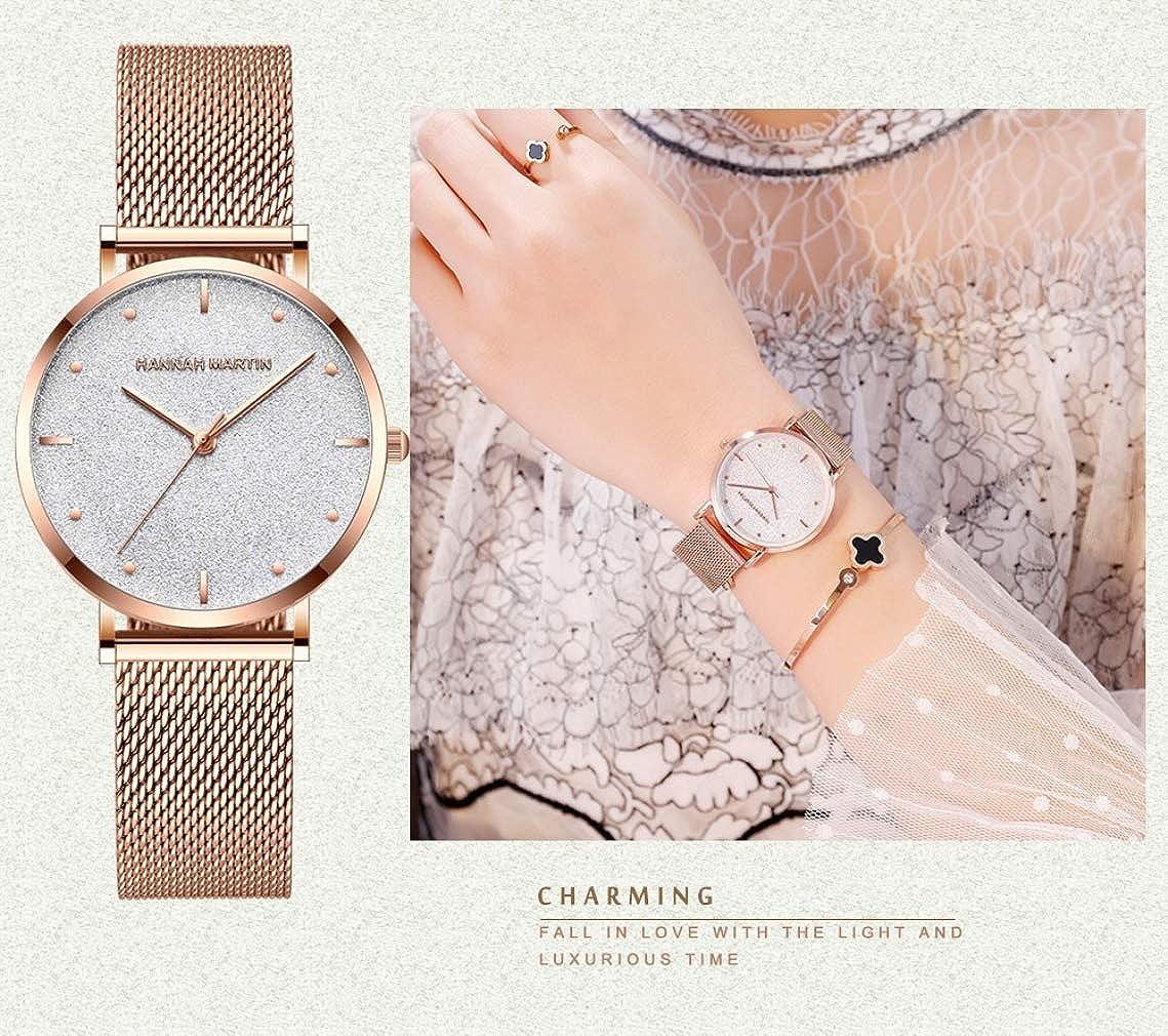 Damen Uhren, L'ananas 2020 Sternenklarer Himmel Wählen Mesh Armband Quarz Uhren Mit Geschenkbox Z-gold+silber