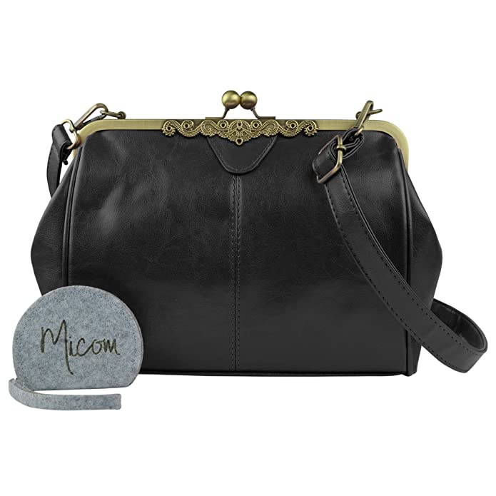 1900-1910s Clothing Micom New Small Retro Vintage Kiss Lock Imitation Leather Purse Handbag Totes Bag for Womengirls $26.80 AT vintagedancer.com