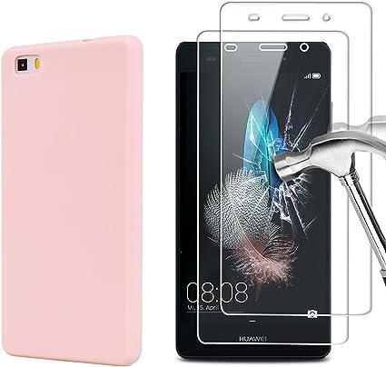 E-Mandala Housse Coque Huawei P8 Lite 2016 2015 Rose Transparent Silicone Ultra Fine Souple Bumper Gel Etui Antichoc Verre Trempé Protection écran