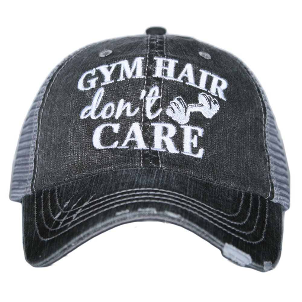 07473f697832d Amazon.com  Gym Hair Don t Care Women s Trucker Hats Caps by Katydid   Clothing