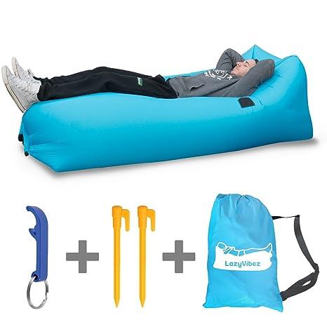 tumbona de aire Inflable, por LazyVibez-Portátil, con reposacabezas y bolsillos, impermeable, para la playa, esquí, festivales, Camping, jardín – ...