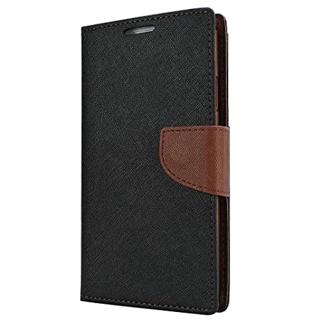 timeless design 1f5ed 39f55 Avzax Stylish Luxury Diary Wallet Style Flip Cover Case with Magnetic Lock  for Lyf Water F1S (Black)