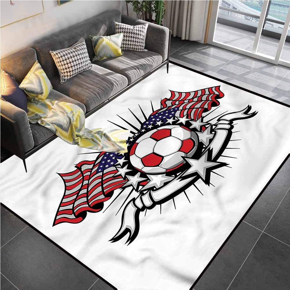 Area Rug Print Large Rug Mat Sports,American Soccer USA Flags Office Chair mat for Carpet for Living Room Bedroom Playing Room 5'x7'