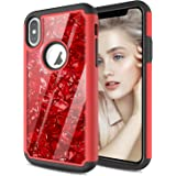 HenSun Glitter Shell Phone Case iPhone Xs 2018 Cell Phone iPhone X 2017 Cases Cover, Soft Silicon TPU Hard Hybrid…