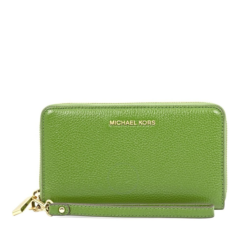 MICHAEL Michael Kors Mercer Large Leather Smartphone Wristlet - True Green