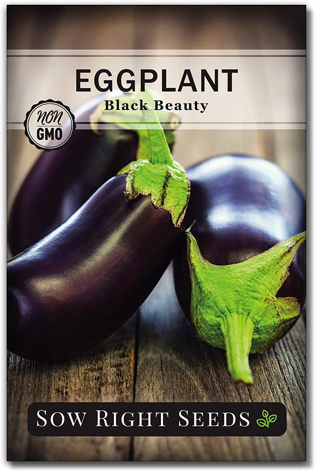 Sow Right Seeds - Black Beauty Eggplant Seed for Planting - Non-GMO Heirloom Packet with Instructions to Plant an Outdoor Home Vegetable Garden - Great Gardening Gift (1)