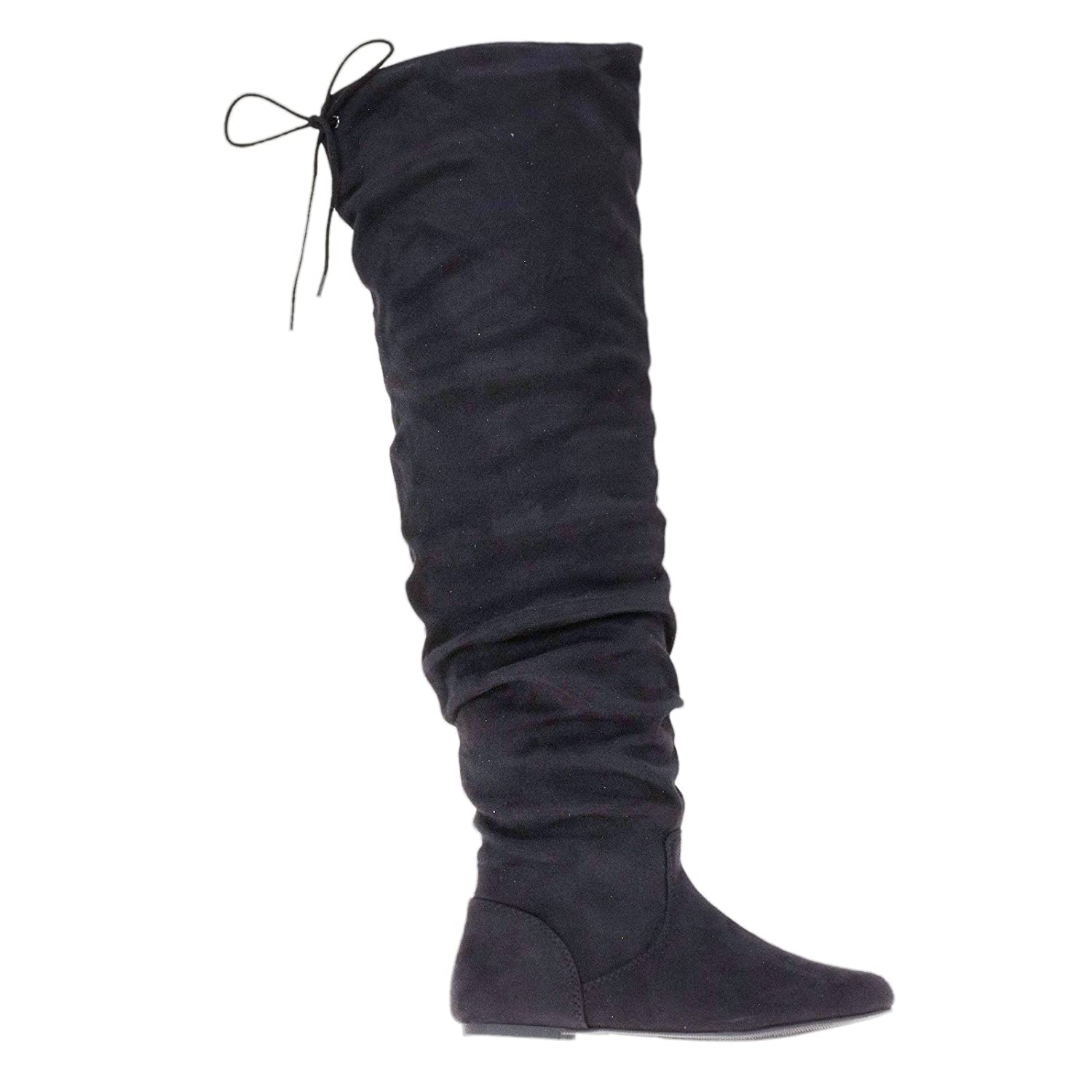 Over The Knee Flat Flexible Slouchy Faux Suede Boots w Back Lace Tie