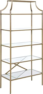 Coaster Home Furnishings 5-Tier Tempered Glass Bookcase Matte Gold Open Shelves