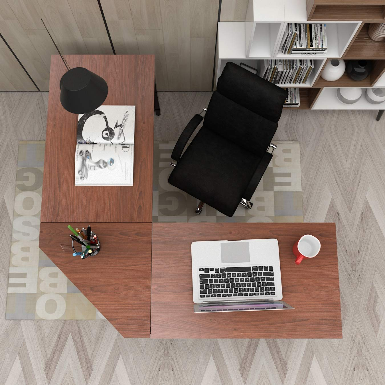 Soges 59 inches Large L-Shaped Desk, Double Tabletop Corner Computer Workstation Desk, L Desk Office Desk Home Office Desk, Walnut DX-Z008-WA by soges