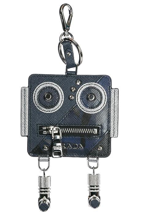Prada llavero monedero de hombre en piel nuevo robot blu ...