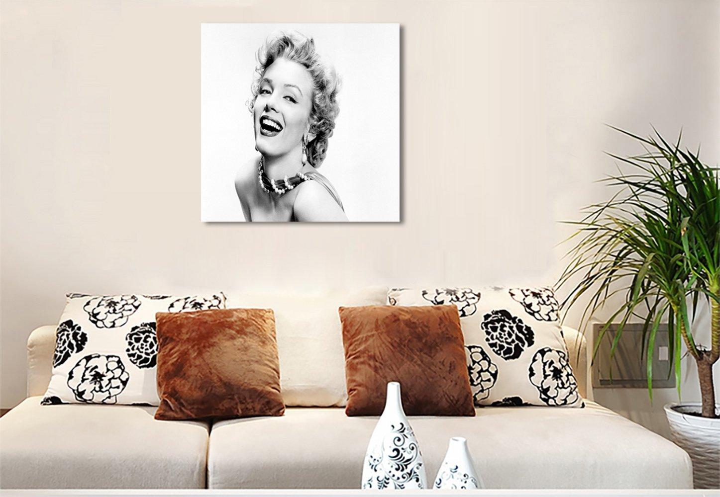 セクシーなマリリンモンロープリントキャンバスの壁アートリビングルームホームデコレーションのブラックホワイトPrints画像フレーム入り 60x60cm WallArt0092597 B077SYG46V 60x60cm P4 P4 60x60cm