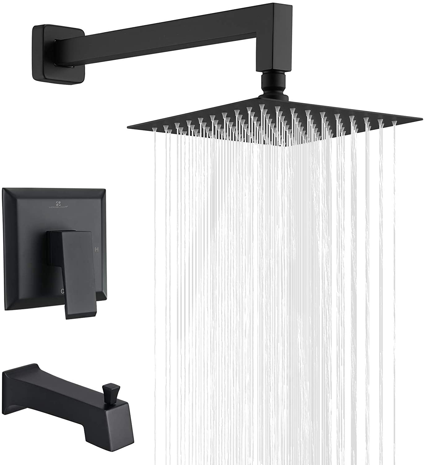 Single-Handle Tub and Shower Trim Kit ESNBIA Shower Tub Kit, Tub and Shower Faucet Set(Valve Included with 5-Setting Handheld Shower Head and Tub Spout Matte Black