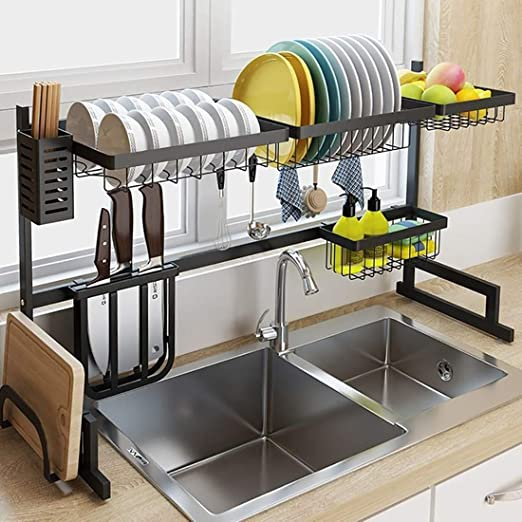 Amazon Com Luexbox Length 32 Inch Over The Sink Dish Drying Rack Stainless Steel Dish Rack For Kitchen Storage Kitchen Sink Organizer Kitchen Shelves Rack Of Dishes