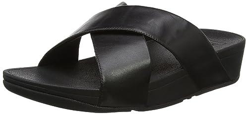 54ea82be191f0 Fitflop Women  s Lulu Cross Slide Sandals-Leather Open Toe  Amazon ...