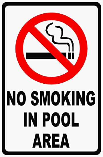 No Smoking in Pool Area Sign.