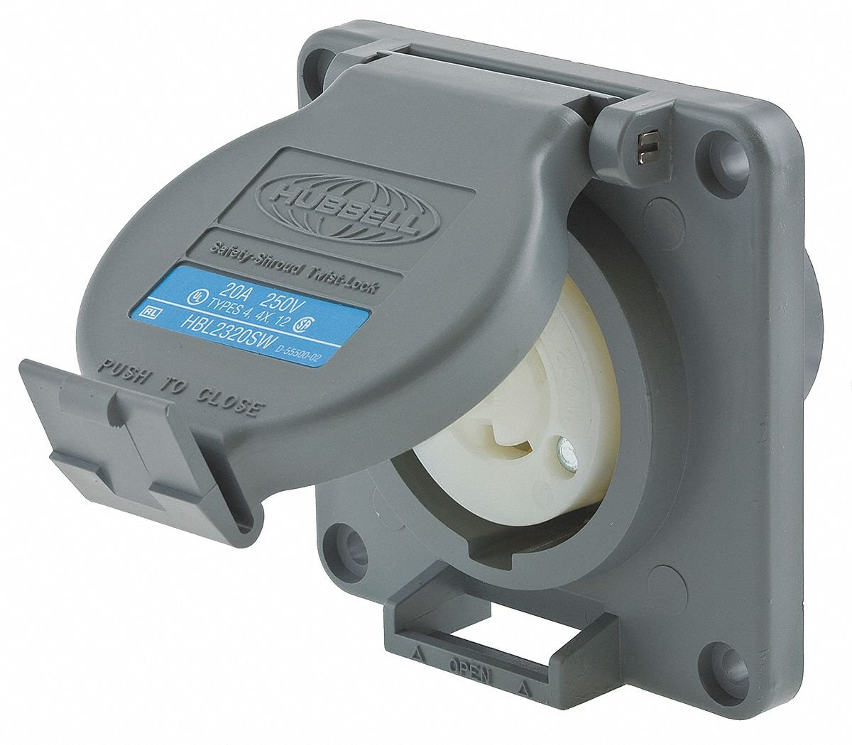 Hubbell Wiring Systems HBL2320SW Twist-Lock Watertight Safety Shroud Receptacle, 20 amp, 250VAC, 2-Pole, 3-Wire Grounding, L6-20R, Gray