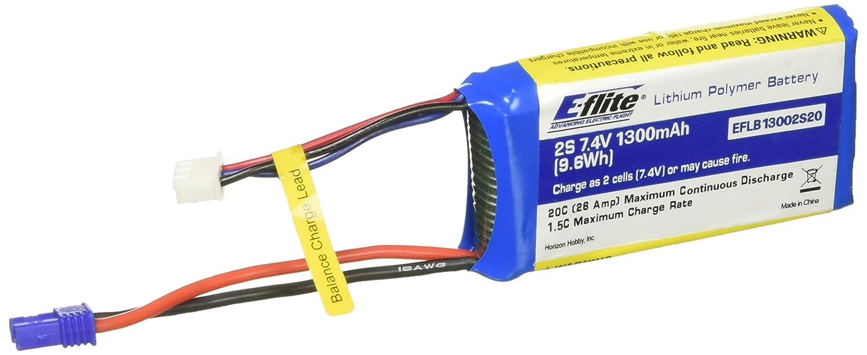 5. E-flite 1300mAh 2S 7.4V 20C LiPo Batteries