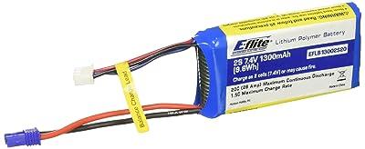5. E-flite 1300mAh 2S 7.4V 20C LiPo 18AWG EC2 Battery