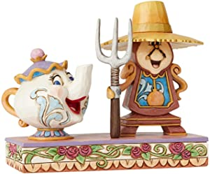 Enesco Disney Traditions by Jim Shore Beauty and The Beast Cogsworth and Mrs. Potts Figurine, 5 Inch, Multicolor
