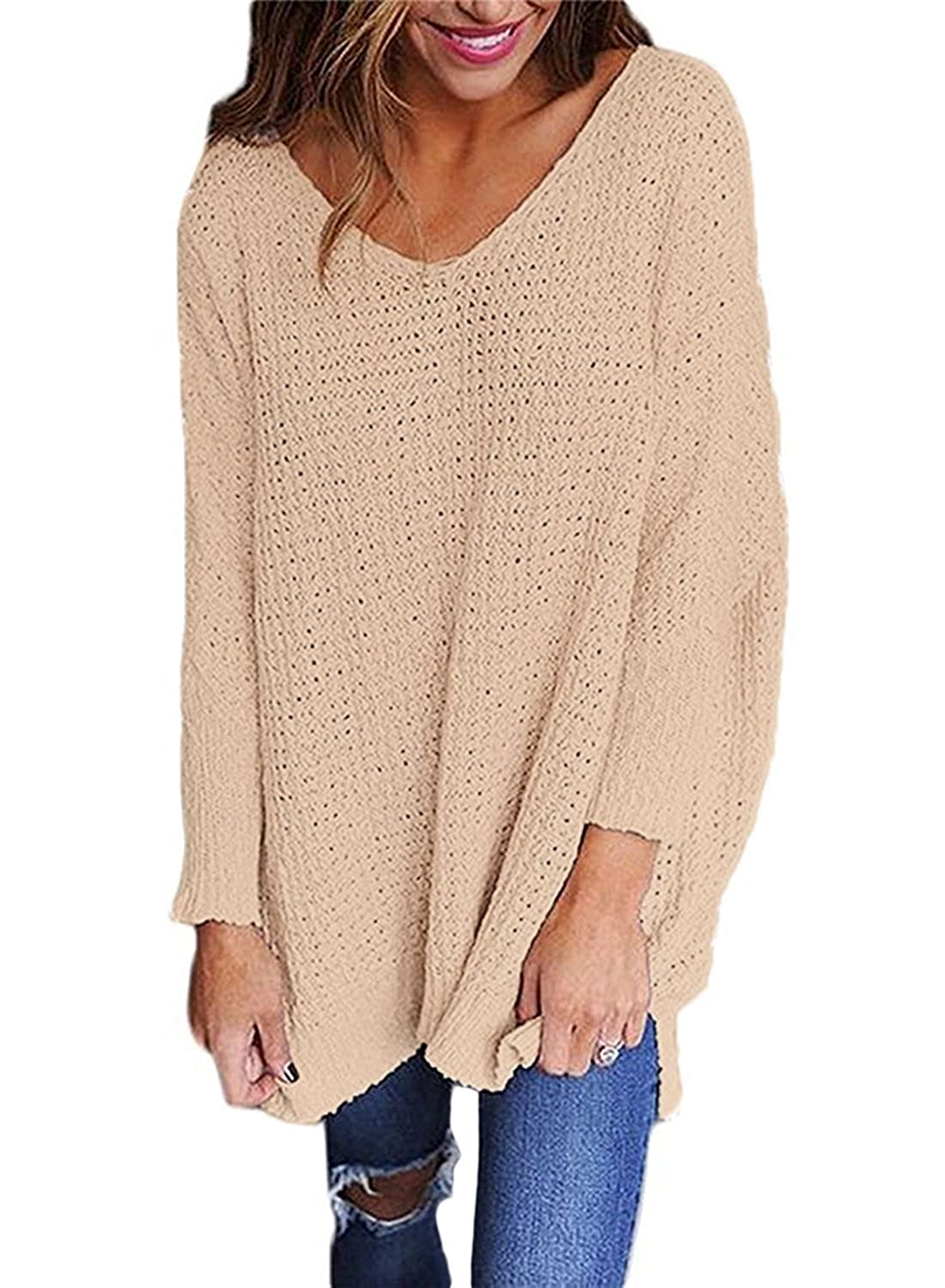 2830017616b8 Dokotoo Femme Casual Pull Col V Tricoté Manche Longue Sweater Lâche  Chandail Blouse Pullover Jumper S- XXL