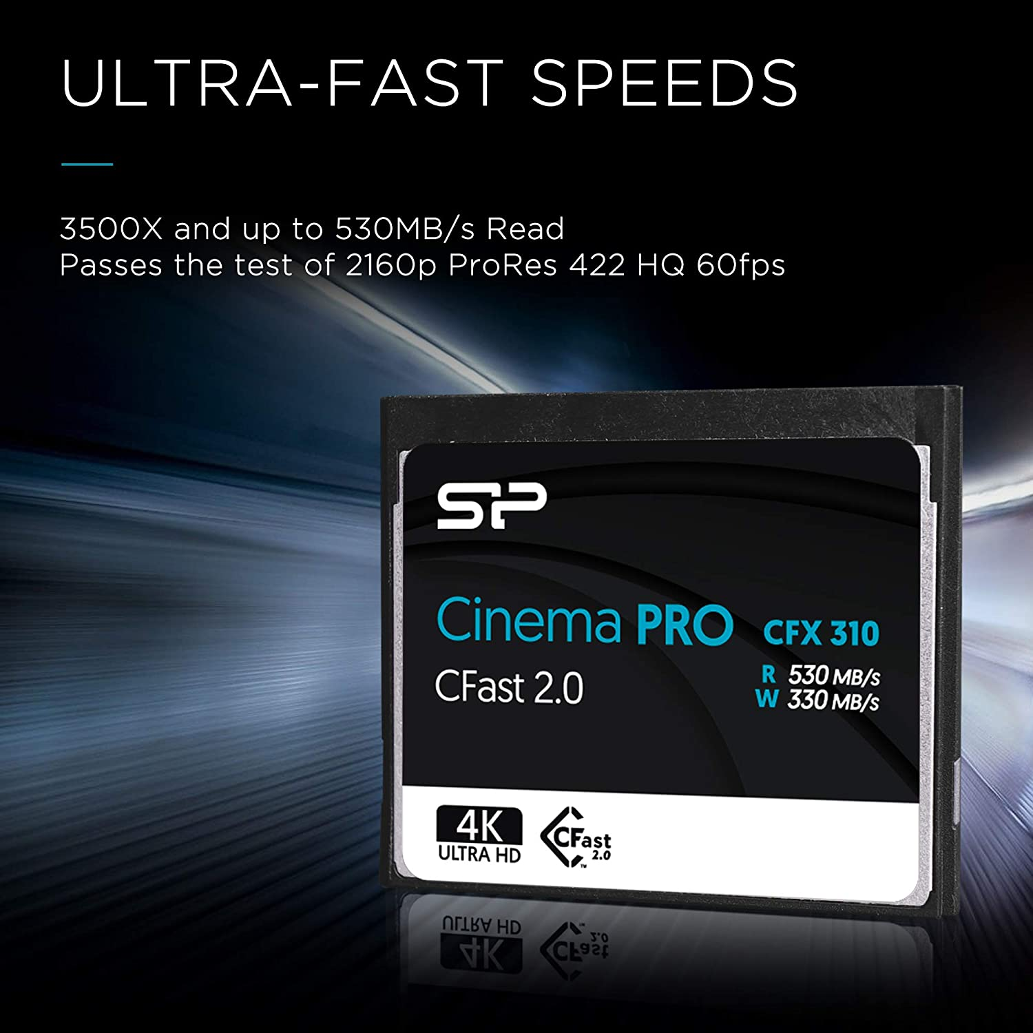 Silicon Power 128GB CFast2.0 CinemaPro CFX310 Memory Card, 3500X and up to 530MB/s Read, MLC, for Blackmagic URSA Mini, Canon XC10/1D X Mark II and ...