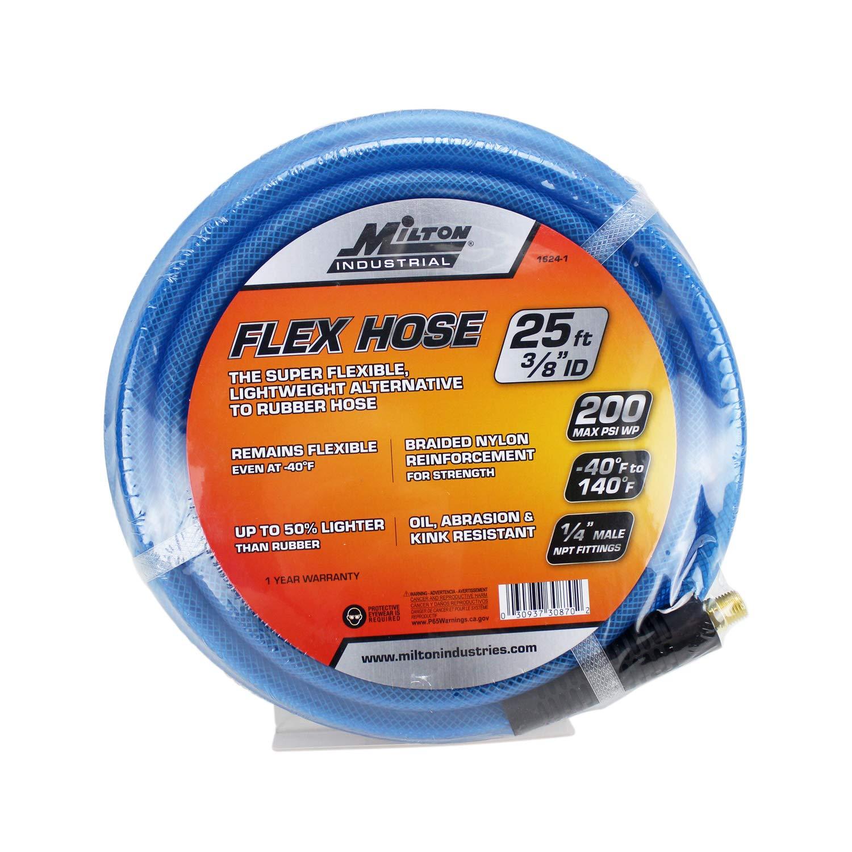 "200 PSI with /¼/"" MNPT brass fitting FLEX HOSE Lightweight braided /""polyurethane/"" hybrid air hose 25 ft x 3//8/"" ID Blue 1623-1 Milton"