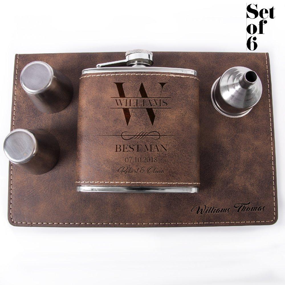 Set of 6, Set of 3, Single - Personalized Leatheratte Flask, Groomsmen Gift, Customized Groomsman Flasks, Wedding Favors, Design 6, Set of 6, Rustic