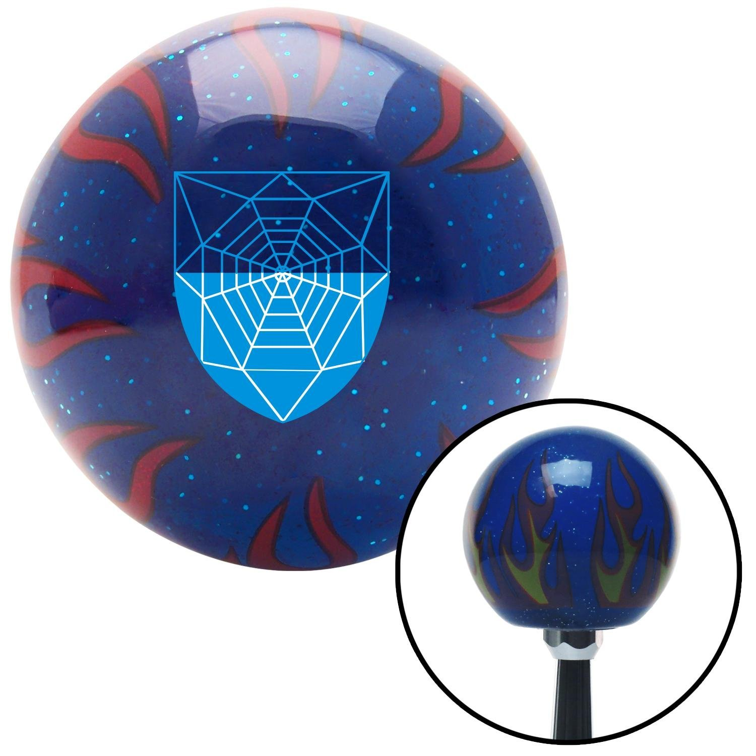 American Shifter 251781 Blue Flame Metal Flake Shift Knob with M16 x 1.5 Insert Spider Coat of Arms