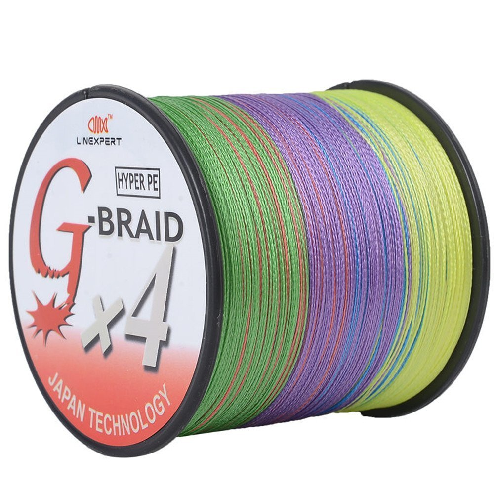 LINEXPERT 編組式釣り糸 G-ブレイド 超強力  100%Peマルチフィラメント 300ヤード 500ヤード 1000ヤード イエロー マルチカラー グレー グリーン B01MQ0BTW5  マルチカラー 10LB/0.14mm(1000Yds)