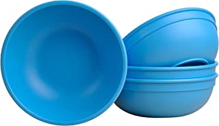 """product image for Re-Play Made in USA Recycled Products, Set of 4 (5.75"""" Heavy Duty Dining Bowl, Sky Blue) Great for Outdoor, Camping, Party, Tailgating or Everyday Dining