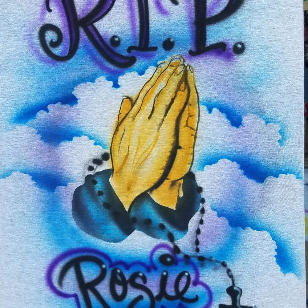 Personalized Airbrush Hoodie Sweatshirt Custom Rip Praying Hands Rosary In Memory Memorial Adult Hoodie Airbrushed Name Adult Youth