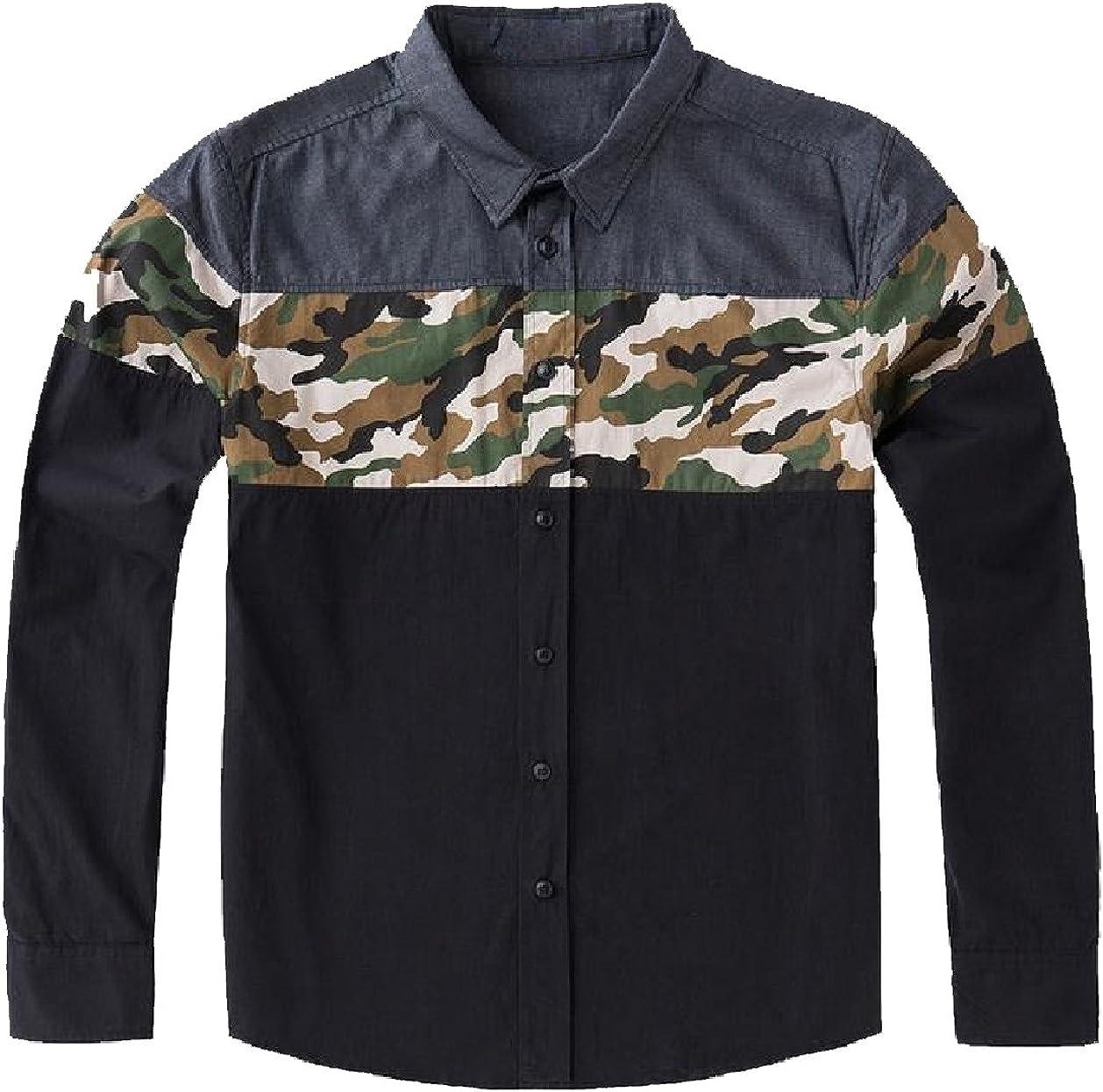 YUSKYMen YUSKY Men Plus Size Long-Sleeve Multicamo Comfort Soft Western Shirt