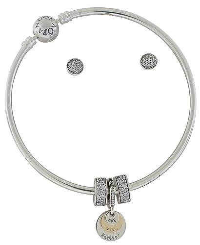 73ff5f106 Amazon.com: PANDORA Silver & 14K Gold Bangle Earrings & Charms Gift Set  B800747-21: Jewelry