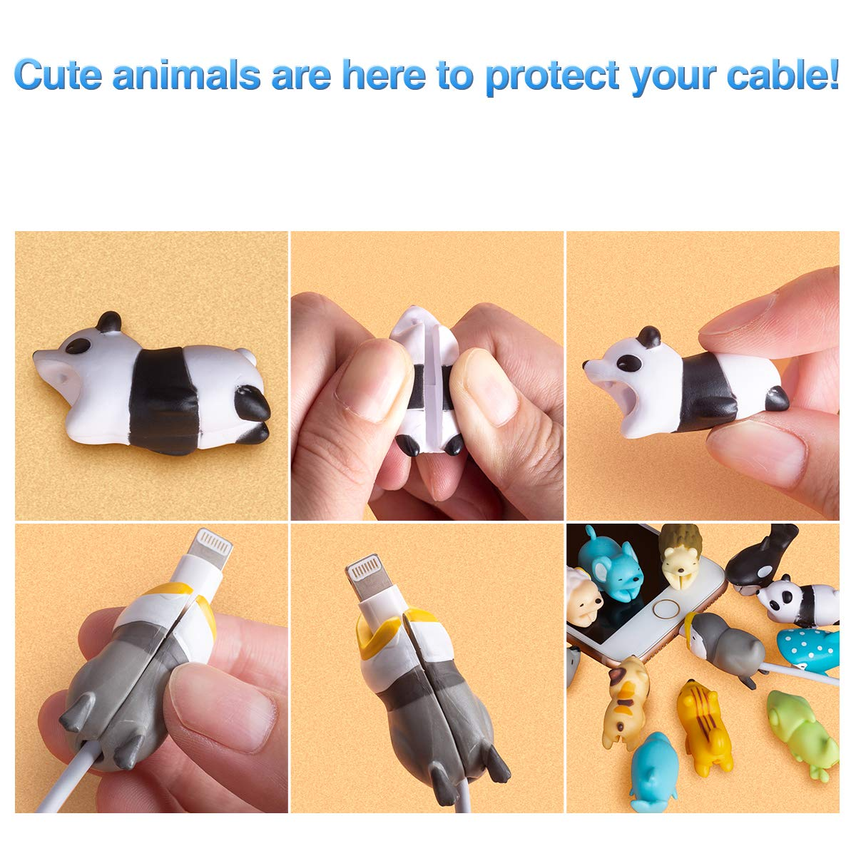 Aitsite 12 Pieces Charger Cable Protector Buddies, Cord Protector Saver with Carry Case and Animals Cable Bites for iPhone and Android Cell Phone Charging Cable by Aitsite (Image #3)