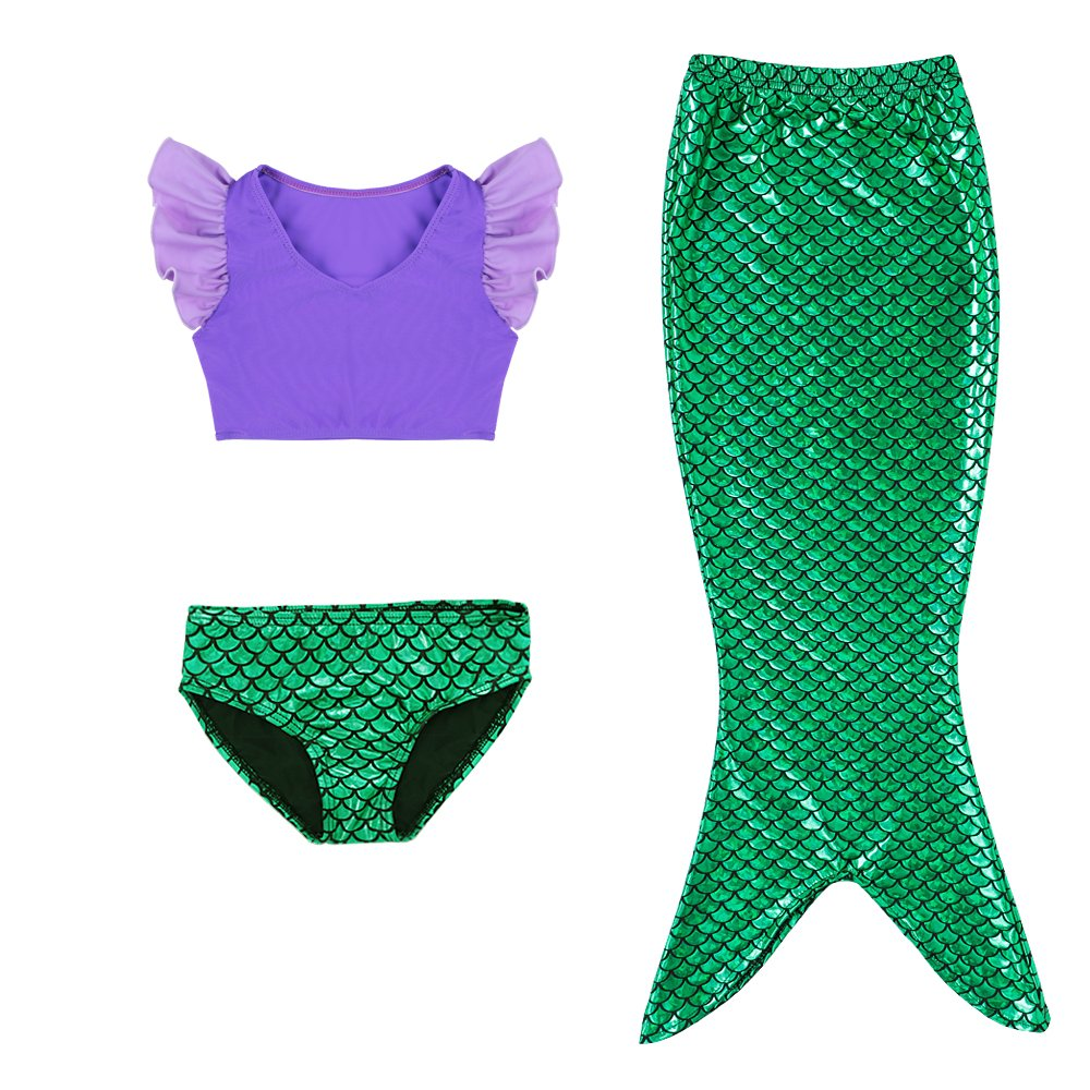 DAXIANG Little Girls Purple Sports Vest with Fin Swimmable Mermaid Tail Swimsuit Costume