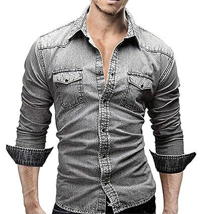 ee0667e1c49ac2 Camicie da uomo Retro Camicia di jeans Camicetta da cowboy Slim Top sottili  sottili,YanHoo