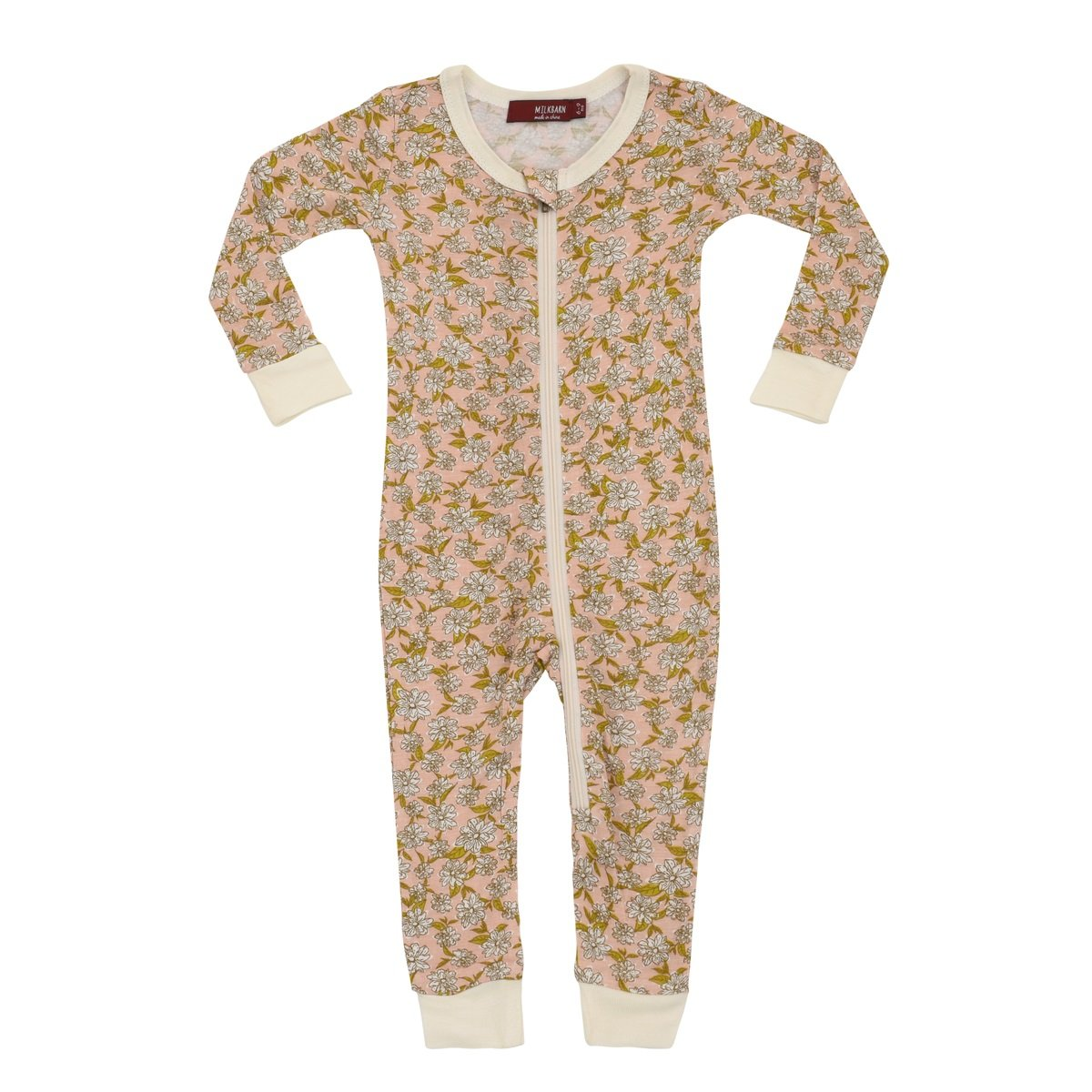 MilkBarn Bamboo Zipper Pajama - Rose Floral (6-9 Month) by MilkBarn