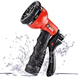 Gada Garden Hose Nozzle, Heavy Duty 8 Watering Patterns, ABS Hand Sprayer - High Pressure ,Best for Lawns, Plants & Shrubs, Washing Cars, Dogs + Pets (Red)