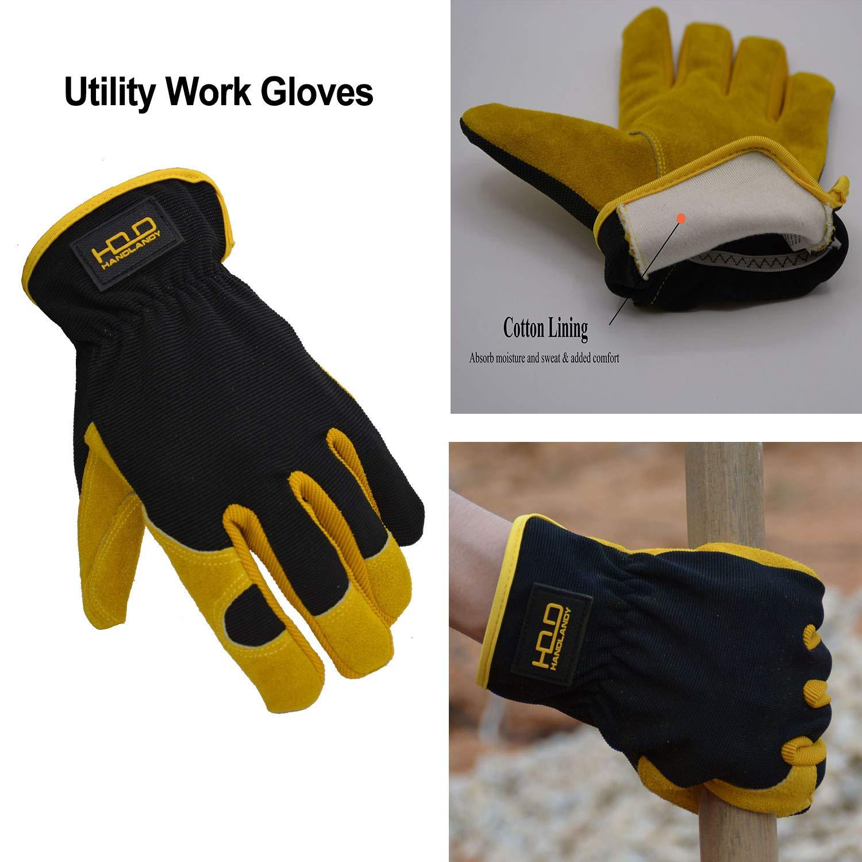 Dexterity /& Breathable Design XL Utility Gardening Gloves for Garden /& Building Work Leather Driver Work Gloves Premium Split Cowhide