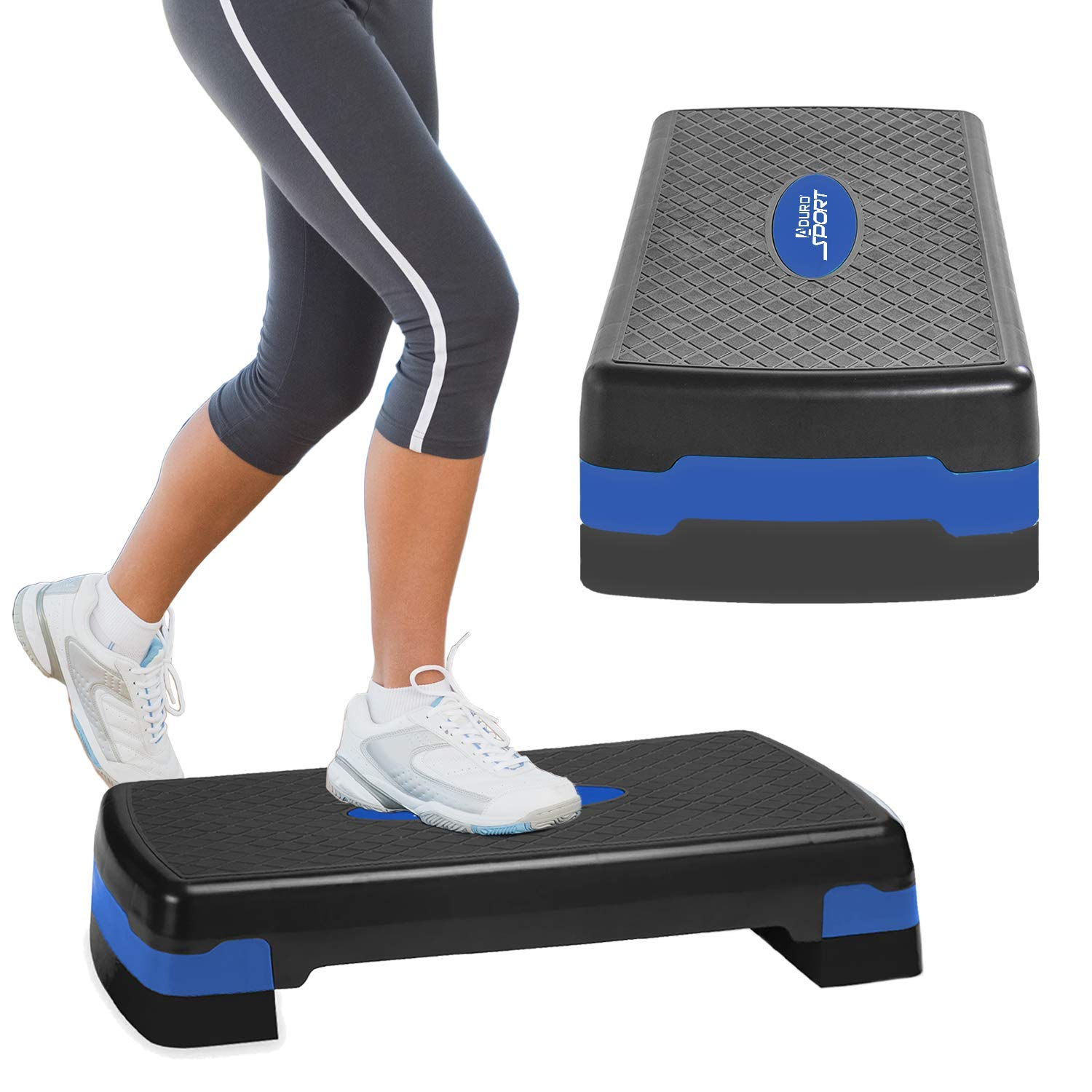 Aduro Sport Aerobic Exercise Step Deck, Adjustable Workout Fitness Stepper Exercise Platform with Risers